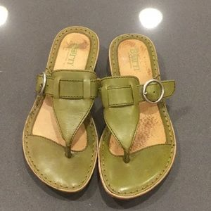 Born Army-Lime Green T-Sandal with Buckle